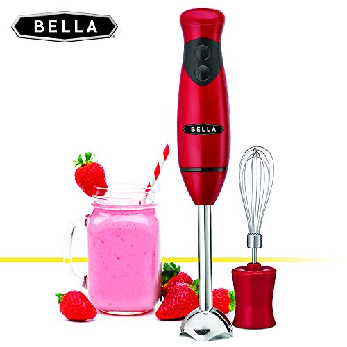 BELLA 2-Speed Hand Immersion Blender with Whisk Attachment, 250 Watt, Red, Immersion Blender with Dishwasher Safe Whisk & Blending Attachments for Food Prep (14460)