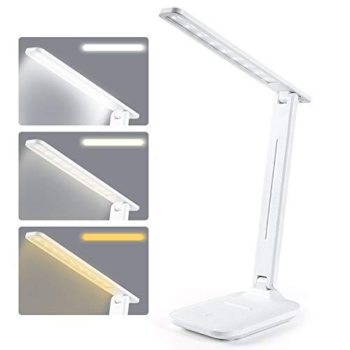 Lámpara de escritorio LED de 8 W, lámpara de mesa de oficina, 3 colores regulables, conexión USB, protección para los ojos, control de campo táctil, luz de lectura LED de smartphone