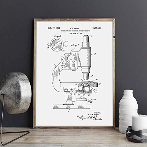 liwendi Microscope Patent Microscope Wall Art Print Chemistry Poster Science Room Wall Decoration Vintage Blueprint Canvas Painting Picture 42 60Cm