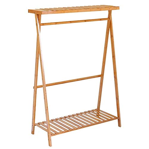 ZTKBG herfstkleding, woonkamer kinderen hangers slaapkamer bamboe rek multifunctioneel eenvoudige ophanging vloer ophangsysteem montagekledingstang (kleur: hout kleur, grootte: 45 * 80 * 140 cm)