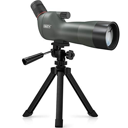 Emarth 20-60x60mm BAK4 Prism Spotting Scope with Camera Tripod, 45-Degree Angled Big Eyepiece,Waterproof Fogproof FMC Spotter Scope for Target Shooting Bird Watching Archery Wildlife Scenery