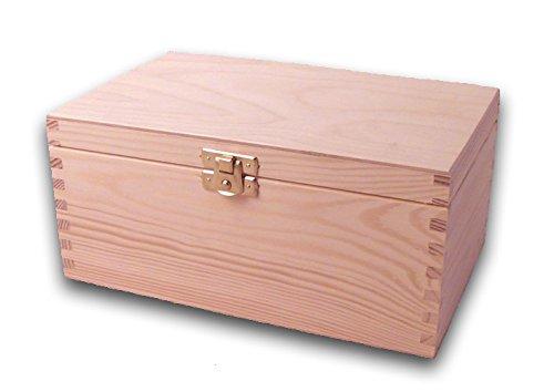 MidaCreativ Holz-Schatulle, Holzkiste, Schatzkiste, Kiefer unbehandelt