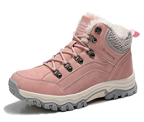 ARRIGO BELLO Donna Stivali da Neve Invernali Scarpe Allineato Pelliccia Caloroso Caviglia Piatto Stivaletti Sportive Boots Escursionismo 36-41 (Rosa, Numeric_38)