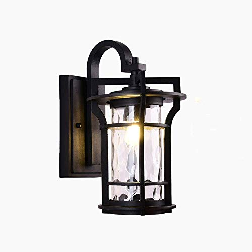American Retro Lámpara de pared para exteriores Jardín Patio Impermeable IP54 Lámpara de pared de vidrio Pasillo de aire abierto Pasillo Valla de aluminio Linterna de pared E27 Aplique de pared