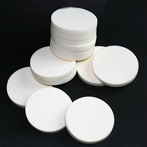 AKOAK 20pcs Round Make Up Facial Face Soft Sponge Cosmetic Puff Women Lady Beauty Makeup Foundation Powder Puff (WHITE COLOR/20)