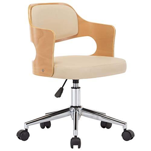 vidaXL Bugholz Bürostuhl Drehbar Höhenverstellbar Schreibtischstuhl Büromöbel Stuhl Chefsessel Bürosessel Drehstuhl Computerstuhl Creme Kunstleder