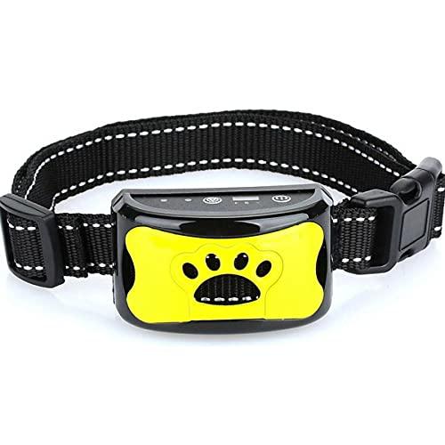 TENGGO Collar De Adiestramiento para Perros Anti Bark Choque Eléctrico Vibración Control Remoto con Comandos De Audio Personalizados para El Collar De Adiestramiento para Perros-Amarillo