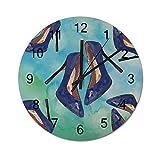 Reloj de pared para regalo de inauguración de la casa de 30,48 cm, diseño de zapato eléctrico azul, funciona con pilas, reloj de madera para decoración del salón