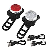 Bicycle Light Set Red and White 2 Lights 3 USB Cable 3 Silicone Strap Led Light Head Front,Black