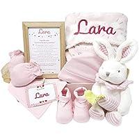 MabyBox Happy Animals   Canastilla Bebé   Set regalo recién nacido  Cesta de bebe Para regalo   Regalo Personalizado Bebe (Rosa)