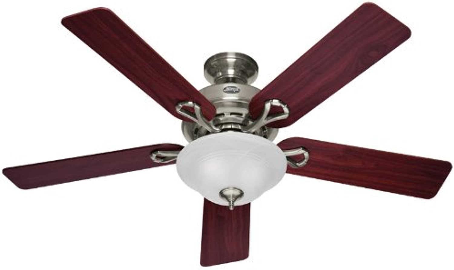 Hunter 53047 The Kensington 52-Inch Brushed Nickel Ceiling Fan with Five Cherry Maple Blades and Bowl Light Kit