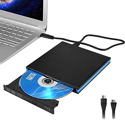 Kacsoo Lettore Dvd Esterno Blue Ray Type-C USB 3.0 Slim Portable Bluray BD Dvd Lettore masterizzatore Ottico Compatibile con MacOS, Windows XP / 7/8/10 per MacBook, Laptop, Desktop, PC