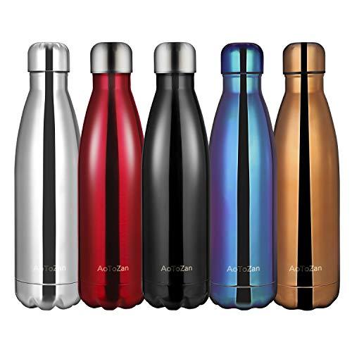 AoToZan Edelstahl Trinkflasche Doppelwandige Vakuum-Isolierte Wasserflasche 500ML Thermosflasche Halten Kalt/Heiß Trinkflaschen Sport für Kinder, Erwachsen, Reisen, Auto (Schwarz)