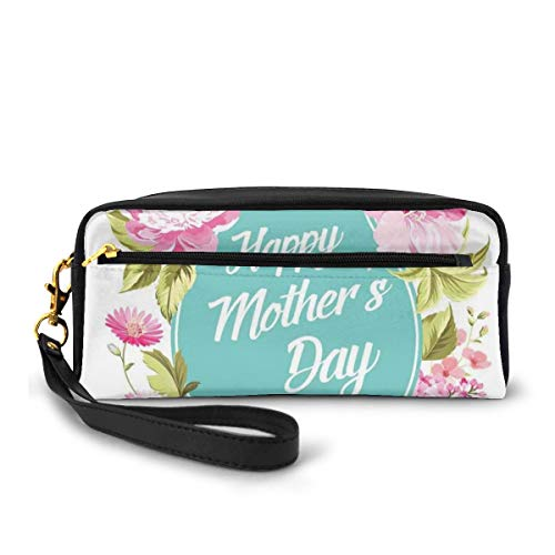 Pencil Case Pen Bag Pouch Stationary,Spring Flowers Frame with Happy Mothers Day Message with Hearts,Small Makeup Bag Coin Purse