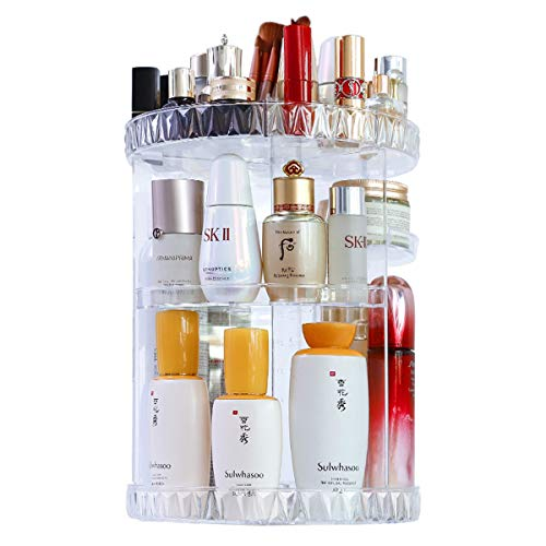 Merdia Makeup Organizer Large Capacity Round Clear 360 Degree Rotating Adjustable Cosmetic Storage Box