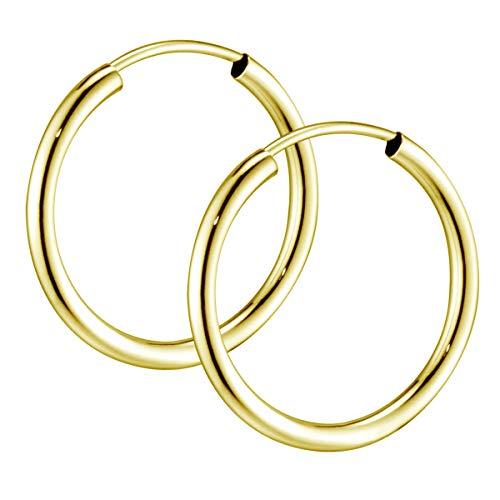 Materia Gold Creolen 30mm klein - goldene Kreolen Ohrringe Silber 925 rund vergoldet für Damen Teenager SO-420