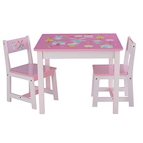 NTS Salon de Jardin pour Enfant en Bois 1 Table 1 Table et 2 chaises avec Lapin et Moulin à Vent