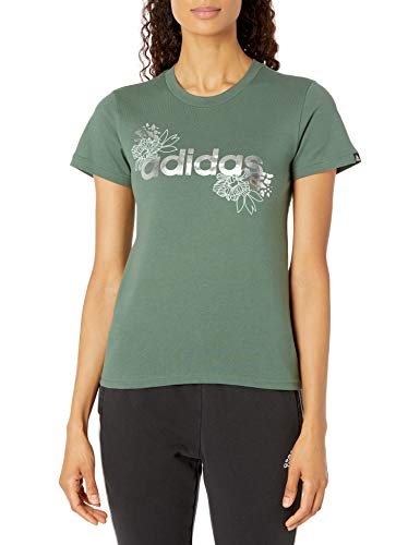adidas womens Foil Linear Graphic Tee Green Oxide X-Large