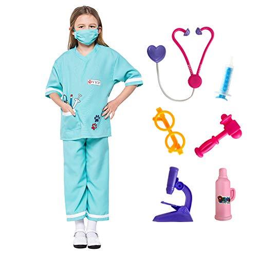 LOLANTA Nio Unisex Doctor Disfraces Veterinario Juego de Roles Disfraces de Halloween adjuntar Juguetes mdicos