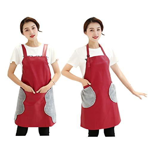 Lindos Delantales Para Mujer, Hogar Cocina Impermeable A Prueba De Aceite Delantal De Cuero De Moda Femenina Con Bolsillo Y 2 Lados Toalla De Mano De Lana De Coral Para Cocinar - Paquete De 2,Rojo