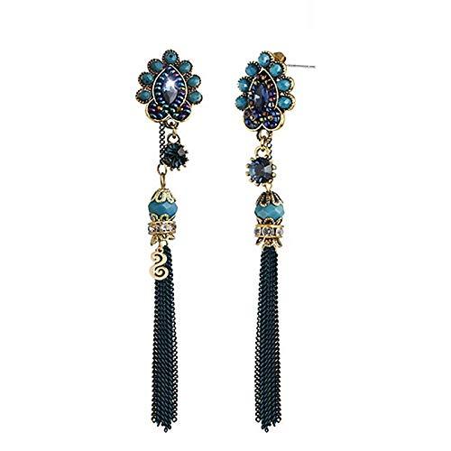 Fashion Vintage 925 Sterling Silver Tassel Chain Dangle Earrings Boho Beach Earrings Minimalist Personalized Gift for Her,Blue