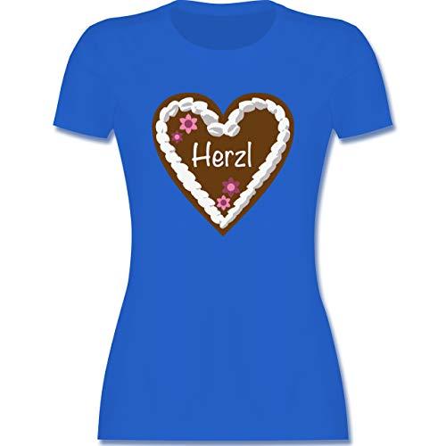 Oktoberfest & Wiesn Damen - Lebkuchenherz Herzl - M - Royalblau - Trachtenbluse Damen - L191 - Tailliertes Tshirt für Damen und Frauen T-Shirt