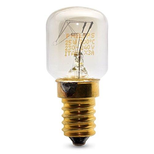 Juego de 3 bombillas Philips pequeñas de 25W SES con rosca E14 para microondas u hornos de menos de 300 ºC.