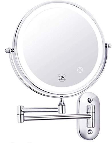 WANGXIAOLINJINGZI Espejo de Maquillaje de Maquillaje iluminoso Espejo de Maquillaje de Pared con magnificación 10x, 8 Pulgadas, botón de táctil Ajustable, para Hotel de baño, Chrome