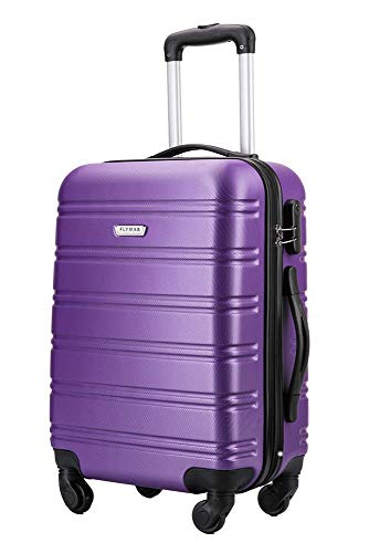 Flymax 55x35x20 Super Lightweight Abs Hard Shell Travel Carry on Board Cabin Approved Hand Luggage with 4 Wheels Fits Easyjet, Ryanair, British Airways & Jet 2 56x45x25