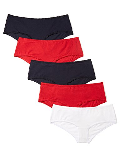 Marca Amazon - Iris & Lilly Culotte Mujer, Pack de 5, Multicolor (Night Sky/Scarlet Sage/White), M, Label: M