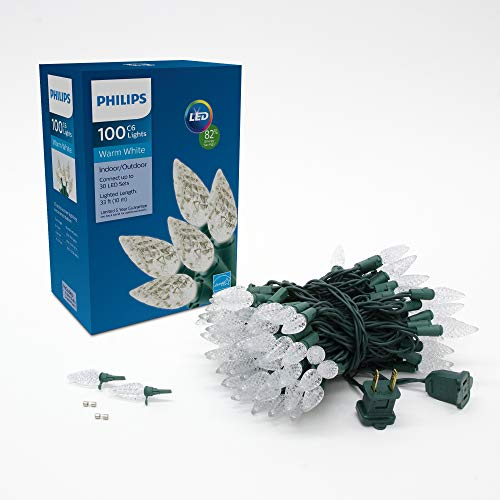 Philips 100 LED Warm White Faceted C6 Christmas Lights