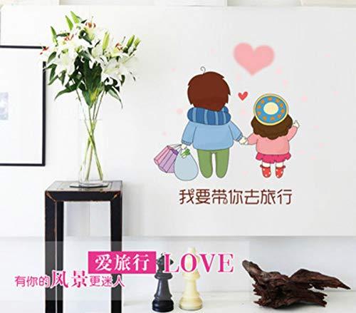 QTHBW Muursticker Muursticker Diy Wallpaper Mural Het paar dat ik wil nemen om te reizen kleur transparante Stickers Kleine Mode Creatieve Home Decoratie