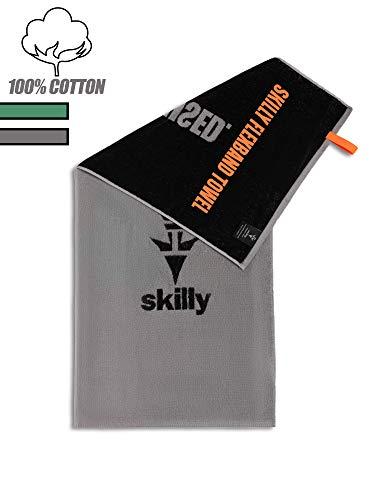 skilly FBT120 Fitnesshandtuch I Sporthandtuch mit Antirutschfunktion I Fitness Handtuch 120x50cm I Handtuch aus 100% Baumwolle I grau und schwarz XL (G/B, 120x50cm)