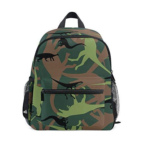 Kids Backpack, Chest Strap, Dinosaur Camouflage Pattern Lightweight Children's School Bag for Preschool Boys Girls
