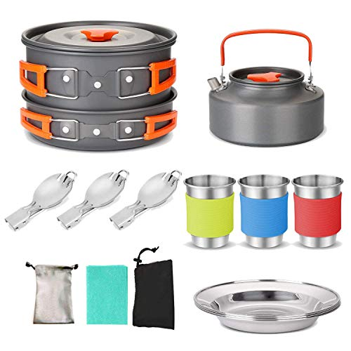 APAN 1 Set Camping Cookware Mess Kit Large Size Hanging Pot Pan Kettle Cups Dishes Forks Spoons Kit for Camping Hiking and Picnic