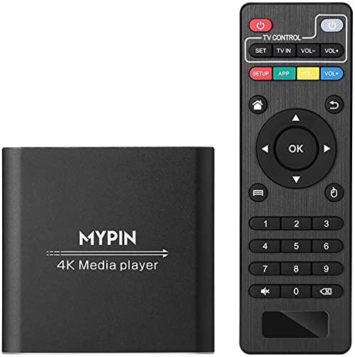 MYPIN HDMI Multimedia Player, 4K@30Hz Digital Media Player HDMI / AV-Ausgang PPT MKV AVI RMVB RM für HDTV mit Fernbedienung unterstützt USB-Laufwerke und SD-Karten USB-Maus
