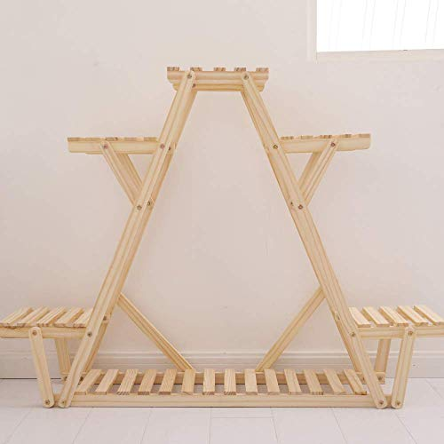 TYXTYX Multi-Layer Display Racks Flower Stand with Garden Wooden Shelving Balcony Decoration Plant Stand with Wheels 972056 cm,Woodcolor-975620cm