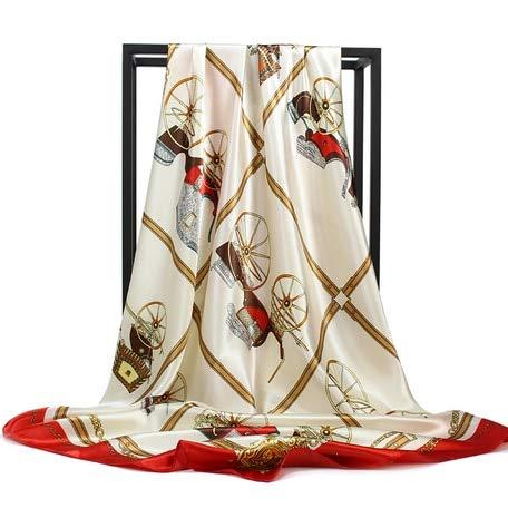 YDMZMS Satijn Sjaal Vrouwen Merk Mode Foulard Femme Zachte Sjaal Grote Maat 90 * 90cm Vierkante Hoofd Sjaals Bandana