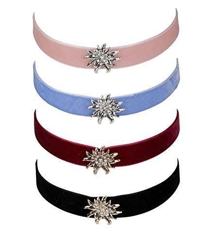 SIX Choker: Set aus 4 Halsbändern aus breitem Samt, mit glitzernden Edelweiß-Blüten in Silber & Gold, rosa, rot, blau, schwarz (730-511)