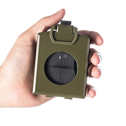 BNISE Military Marching Compass - Waterproof and Shakeproof - Army Pocket Size - Easy Map Navigation Professional Grade Survival & Mapping Gear - for Outdoor, Camping and Hiking (Military, X-Large)
