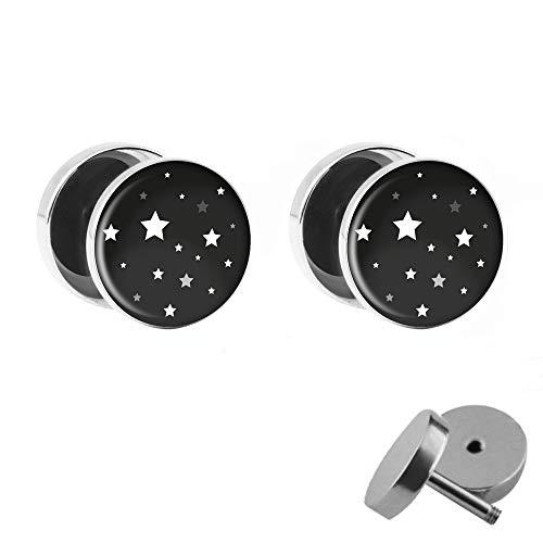 Treuheld® | Sterne - Ohrstecker zum Schrauben | Set/Paar | Schwarz/Weiß | Chirurgenstahl | 10mm Sternen-Himmel Fake Plugs für Damen und Kinder