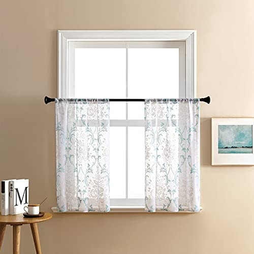 MRTREES Sheer Curtain Tiers Cafe Curtains 36 inches Long Kitchen Tiers Scroll Printed Damask Rod Pocket Short Half Window Curtains Flower Print Bathroom Small Window 2 Panels Aqua Blue on White