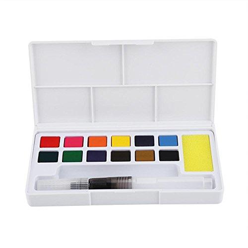 Caja para pintar acuarelas, Juego de pintura portátil de color de agua sólida Kit de pigmento de acuarela con pincel de agua y arte de dibujo de esponjas escolares (12 colors)