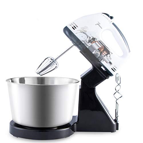 Elektrische handmixer, 100W 7-speed keukenmachine met 1.7L roestvrijstalen kom, keukenmixer garde deegmixer broodmixer machine/wit