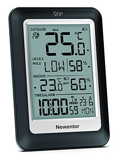 Newentor Wetterstation Funk mit Außensensor, Digitales Thermometer Innen und Außen, Wetterstation Innen Außen, Thermometer Innen/Ausen, Wetterstation Batteriebetrieben, Funk Wetterstation mit Funkuhr
