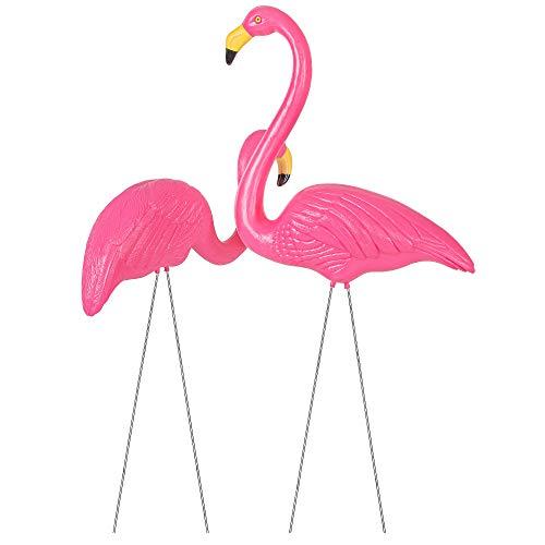 SPRINGOS - Figura decorativa para jardín (2/3), diseño de flamencos, color rosa, 2 unidades.