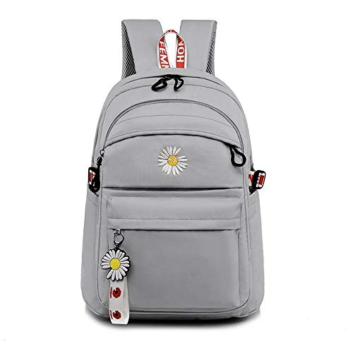 Lightweight casual backpack, nylon cloth backpack, laptop school bag, with small daisy pendant, suitable for teenage girls (gray)