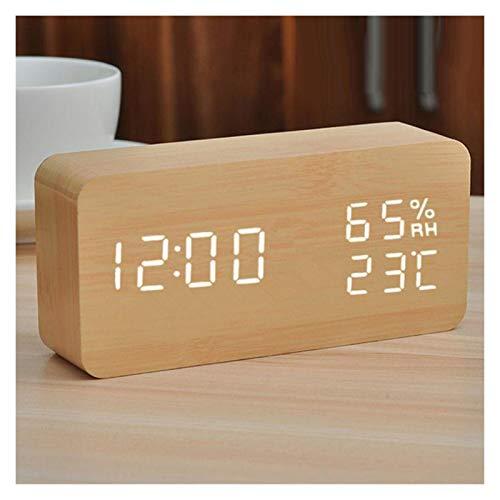 MyBHD Reloj de Alarma de Madera Digital Snooze Reloj Reloj Despertador Luz de Noche Tiempo electrónico Temperatura Pantalla Decoración del hogar Decoración Reloj Reloj de Pared (Color : As Show)