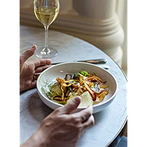 LE TAUCI Pasta Bowls 45 Ounce, Ceramic Salad Bowl, Large Serving Bowl Set - Set of 4, White