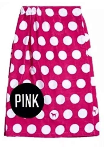 Victoria's Secret Pink Polka Dot Body Wrap Towel Bath Shower Beach Cover Up, One Size Pink